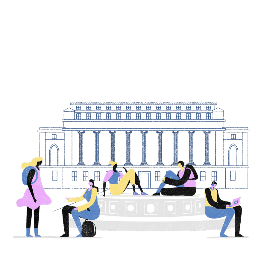 Illustration depicting students on Columbia's campus