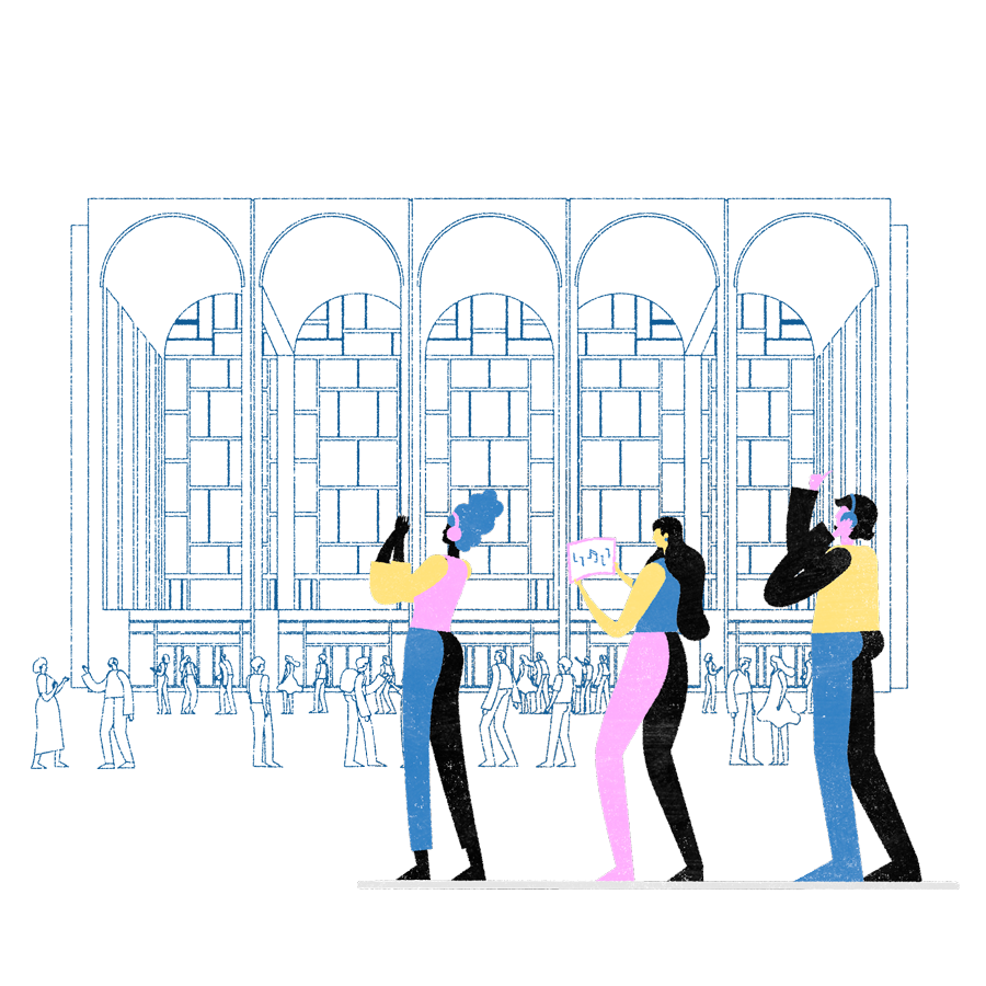 illustration depicting students outside of a concert hall
