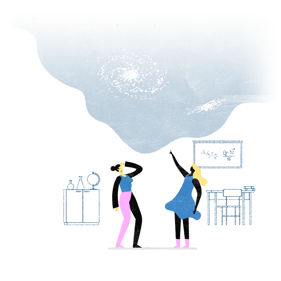 illustration depicting two people considering the galaxy