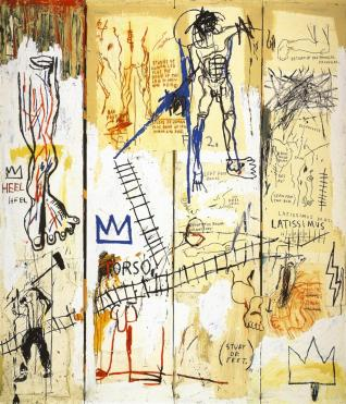 "an image of ""Leonardo Da Vinci's Greatest Hits"" by Basquiat"
